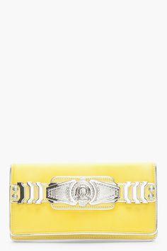 Balmain Yellow Leather Medallion Bi_fold Clutch