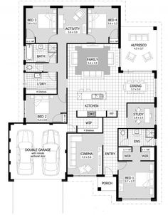 Find a 4 bedroom home that's right for you from our current range of home designs and plans. These 4 bedroom home designs are suitable for a wide variety of lot sizes, including narrow lots. Use the home finder to narrow your search results for 4 bedroom 4 Bedroom House Plans, Bungalow House Plans, Dream House Plans, Modern House Plans, House Floor Plans, The Plan, How To Plan, Home Design Floor Plans, Plan Design
