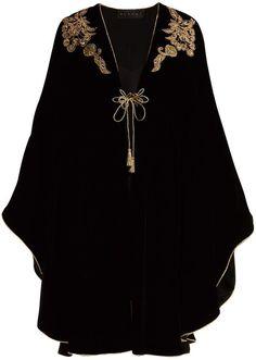 Dundas - Bead And Sequin Appliqué Velvet Cape - Womens - Black Gold Mode Kimono, Black Abaya, Mode Abaya, Sequin Appliques, Abaya Designs, Moroccan Dress, Dress Neck Designs, Hand Embroidery Dress, Abaya Fashion