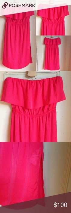 BCBGMAXAZRIA Malia Red Ruffle Strapless Dress NWOT Red berry Malia ruffle strapless knee length dress with a left side slit and pockets. Fully lined, elastic top and waist. BCBGMaxAzria Dresses Strapless