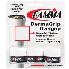 Gamma Dermagrip Overgrip, Black by Gamma. $5.45. The only grip that grips you back! DermaGrip surface grips your hand for more traction and control. Elastic backing stretches thin for minimal grip buildup. Black, Blue, White.