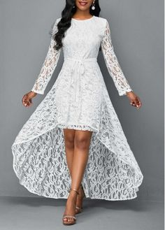Rosewe / Long Sleeve Lace Dress and High Low Skirt Women's Fashion Dresses, Skirt Fashion, Maxi Dresses, Party Dresses, Casual Dresses, Dresser, White Long Sleeve Dress, White Dress, High Low Skirt