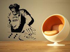 Wall Room Decor Art Vinyl Sticker Mural Decal Chimp Dj Monkey Edm Music Big Large AS674