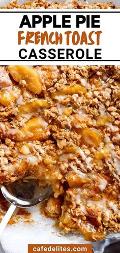 In this Apple Pie French Toast Casserole, two desserts collide into one irresistible breakfast! This casserole, also known as bread pudding, is a family favorite breakfast! Soft french toast sits beneath cinnamon flavored apple slices, topped with an incredible crisp topping for a crunch texture, and finished with a drizzle of maple-flavored frosting. Quick And Easy Breakfast, Best Breakfast Recipes, Brunch Recipes, Sweet Recipes, Dessert Recipes, Brunch Ideas, Breakfast Dishes, Apple Recipes, Breakfast Ideas