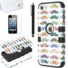 Pandamimi ULAK(TM) Hybrid Hard Pattern with Silicon Case Cover for Apple iPod Touch 5 Generation with Screen Protector and Stylus (Mustache Mania / Black), http://www.amazon.com/dp/B00K2QO026/ref=cm_sw_r_pi_awdm_5onFtb01W562X
