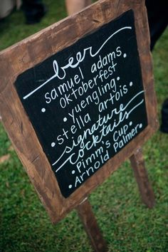 Chalkboard list of reception drinks.