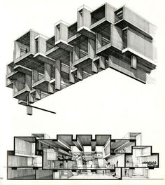 Axonometric and section drawings.