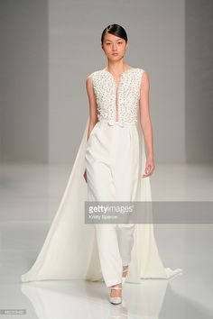 A model walks the runway during the Georges Hobeika show as part of Paris Fashion Week Haute Couture Spring/Summer 2015 on January 26, 2015 in Paris, France.