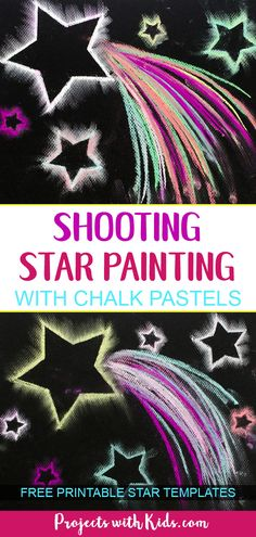 Dazzling Shooting Star Paintings with Chalk Pastels Use easy chalk pastel techniques to create shooting star paintings that are out of this world Free star templates included chalkpastels kidsart starcrafts projectswithkids Space Crafts For Kids, Arts And Crafts For Adults, Arts And Crafts House, Easy Arts And Crafts, Kids Crafts, Easy Art For Kids, Simple Crafts, Fall Crafts, Chalk Pastel Art