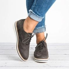 New Brogue Shoes Woman Platform Shoes Oxfords Spring Women Flats British Style Creepers Women Shoes Women Casual Shoes 5 Colors - grey 5 Women's Shoes, Oxford Shoes Outfit, Casual Shoes, Flat Shoes, Platform Shoes, Shoes Style, Golf Shoes, Buy Shoes, Shoes Sneakers