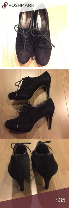 Adrienne Vittadini Black Suede Lace Up Heels 8 Black suede lace up heels perfect for work and look adorable with tights. Size 8, I would say runs true to size. Purchased from Nordstrom. Adrienne Vittadini Shoes Heels