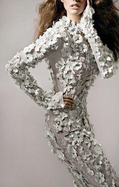 Blumarine fabric flowers textured garment