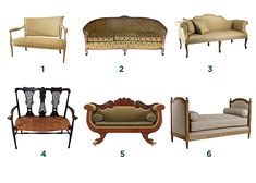 1: Settee; 2: Cabriole sofa; 3: Camelback sofa; 4: Two Chair-back Settee; 5: Empire Style Sofa; 6: daybed