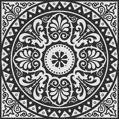 Would make a nice B&W tile for a backsplash, maybe mixed with plain white or black tiles?