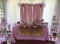 Pink and Gold Princess Baby Shower | CatchMyParty.com