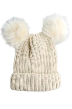 """Winter must have Double Pom Hat!  Seen all over Pinterest!    9' tall Beanie Hat with double 2 1/2"""" fur pom poms    Colors:    Ivory  Beige (1 Left in Stock)    Shipping 2 weeks"""