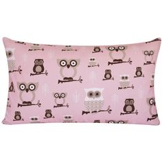SALE Owl Decor Throw Pillow Cover 16x26 Lumbar, Pink and Gray Chevron,... ($23) ❤ liked on Polyvore