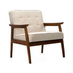 Mid-Century Walnut Lounge Chair in Cream | dotandbo.com