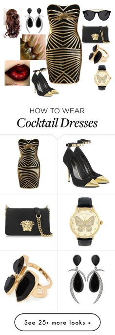 """""""~ black & gold ~"""" by moniquedawson09123 on Polyvore featuring Posh Girl, Balmain, Versace, Smoke & Mirrors, River Island and Betsey Johnson"""
