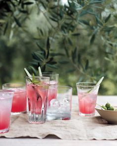 Begin with watermelon-cucumber coolers spiked with Aperol, an Italian aperitif made with herbs, bitter orange, and rhubarb.