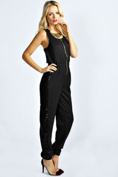 Deena Sequin Side Stripe Jumpsuit at boohoo.com