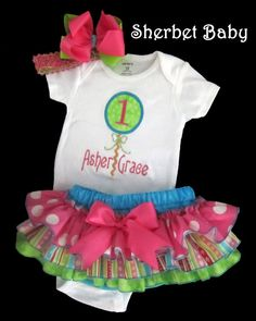 Set Bodysuit or Shirt plus Sassy Pants Ruffle Diaper Bloomer  with Applique Lolipop Number and Monogram