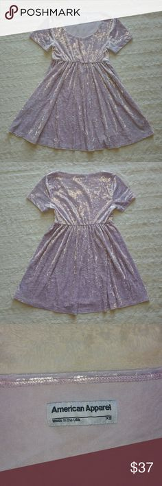 American Apparel Babydoll Dress Beautiful soft velvet babydoll dress from AA ♡ Color is crushed marsmallow which is a pretty pastel lavender/lilac color ♡ Gently worn, no flaws American Apparel Dresses Mini