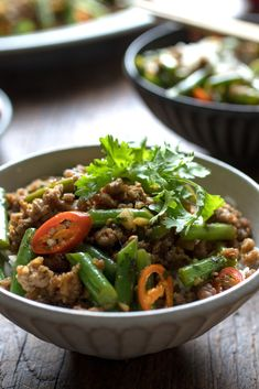 ground pork and green beans are stir-fried with plenty of ginger, garlic and chiles, and seasoned with soy sauce and coriander seeds.er rice or rice noodles to help absorb all the salty, spicy sauce. Slices of fresh tomato add a sweet . Pork And Green Beans, Stir Fry Green Beans, Fried Green Beans, Pork Recipes, Asian Recipes, New Recipes, Dinner Recipes, Cooking Recipes, Dinner Entrees