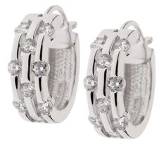 qvc Epiphany Platinum Clad Silver Diamonique Scattered Stone Hoop Earrings JS09 #Epiphany #Hoop