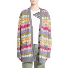 Women's Marc Jacobs Star Knit Mohair Blend Cardigan (17.490 ARS) ❤ liked on Polyvore featuring tops, cardigans, rainbow multi, mixed print top, slouchy cardigan, marc jacobs top, print cardigan and knit top