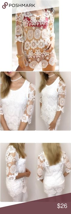 """Delicate Crochet Lace Cover Up Tunic Top One Size Welcome summer in this stunning crochet lace cover up top. Great layering piece with cami/tank or wear as swimsuit coverup. Tank not included. One size fits most. Polyester Hand Wash Delicate Lace.   Bust fits up to 39"""" Length 28.5"""" Swim Coverups"""