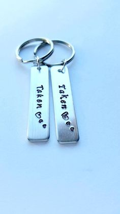 Gift under 50, Taken Couples Keychains, Personalized gifts for couples, stocking stuffer, present for girlfriend boyfriend, Hand stamped