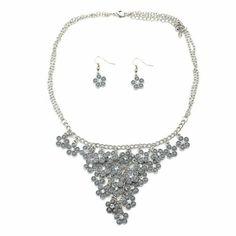 Delicate Grey Flower Statement Necklace! #inspiredsilver #neckalce #finejewelry