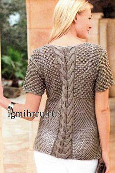 Летний пуловер с филигранным узором рельефных кос и изысканным узором «розочки». Вязание спицами