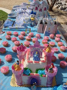 Cinderella Cake table. Disney Princess Party! Cinderella party. Cinderella thank you scrolls.