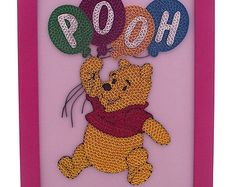 Superb winnie the pooh holding balloons quilled winnie the pooh picture in a frame pooh