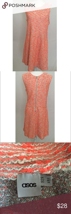 "ASOS| knit dress Orange and white | knit dress| no sleeves| size 14 | zipper on the back | 57% cotton, %20 acrylic, %15 viscose,%8 polyester | length 38"" , chest 21, 