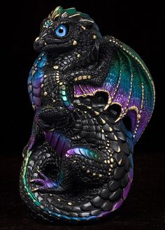Young Dragon - Black Violet Peacock. Airbrushed and hand painted fantasy Figurine #dragon #collectable #fantasyart - $84.00