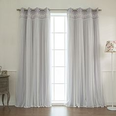 Shop for Aurora Home Lace Overlay Room Darkening Grommet Top Curtain Panel Pair. Get free delivery On EVERYTHING* Overstock - Your Online Home Decor Outlet Store! Drop Cloth Curtains, Cool Curtains, Grommet Curtains, White Curtains, Hanging Curtains, Blackout Curtains, Window Curtains, Curtain Panels, Roman Curtains