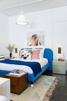 bedroom ideas white bedroom with blue bed