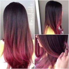 Hair Dye Colors, Ombre Hair Color, Hair Color Balayage, Cool Hair Color, Hair Highlights, Haircuts For Medium Hair, Medium Hair Styles, Raspberry Hair, Hair Melt