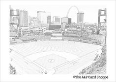 Coloring Card 3 // Busch Stadium // St. Louis by theapcardshoppe