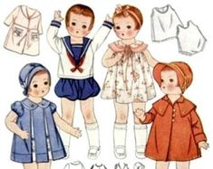 Baby Girl Dress Patterns, Baby Clothes Patterns, Doll Sewing Patterns, Vintage Sewing Patterns, Clothing Patterns, Sewing Toys, Baby Sewing, Sewing Crafts, Iron On Embroidery