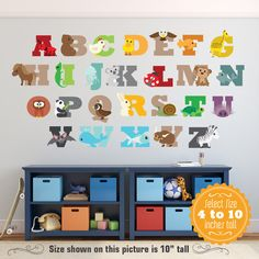 Alphabet ABCs Animals Wall Decals Reusable Learning Set Animals and Letters  Set Children Safe Fabric or Vinyl
