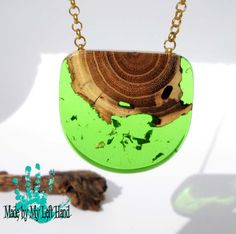 Epoxy resin necklace wood and resin green by MadebyMyLeftHand2
