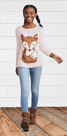 How cute is this fox sweater from the Rock Western Collection at Justice?!