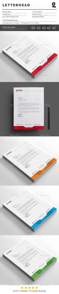 #Letterhead - #Stationery #Print #Templates Download here: https://graphicriver.net/item/letterhead/18394592?ref=alena994