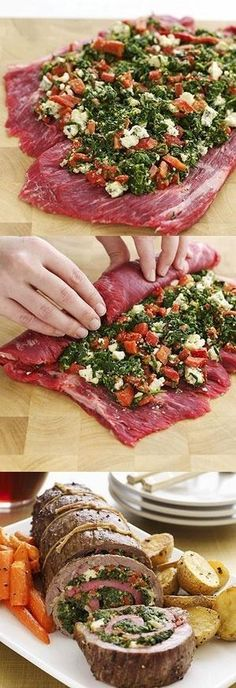 Stuffed Flank Steak  Try with feta or goat cheese instead of blue cheese and/or fresh or sundried tomatoes instead of roasted peppers.