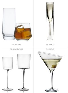 modern champagne flute, modern glassware, high and low ball glasses, great glassware, modern wine glasses, cool martini glass, gorgeous martini glass