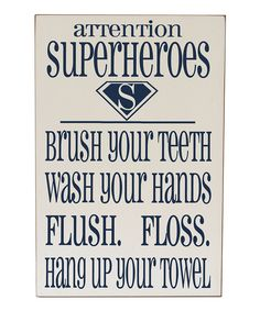 Cream & Navy 'Superheroes' Bathroom Wall Art | Daily deals for moms, babies and kids